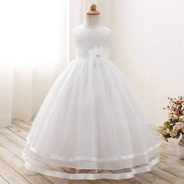 3878859e469af Elegant White Flower Girl Long Evening Dress Baby Girl Christening ...