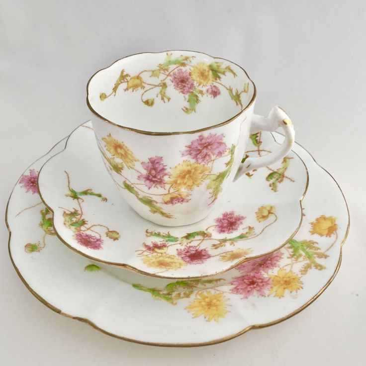 This antique tea cup, saucer and side plate brings you the summer no matter what the season is. It was made in 1894 by Wileman (later Shelley and