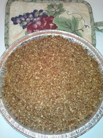 Pecan Pie crust.  This is a delicious crust for cheesecakes or pudding pies. You may also use other kinds of nuts.