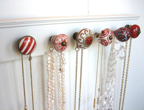 Jewelry Holder with Six Red Knobs by AuntDedesBasement on Etsy, $35.00