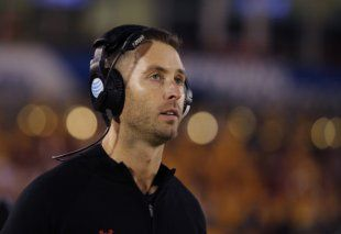 Kliff Kingsbury's Raiders nearly pulled off a huge upset Saturday at home against TCU. (Getty)