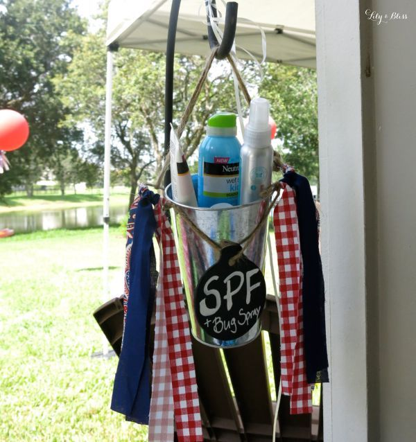 Having a party outside? Think about providing guests with SPF & bug spray just in case they forgot theirs. You can place them in a metal buckets and hang it from a shepards hook!
