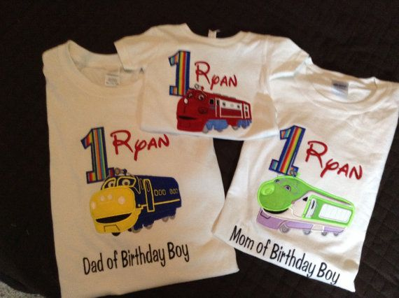 Appliqué Chuggington Birthday shirt. I have used Royal blue for number, and of course Wilson is in red. You can change colors on number and