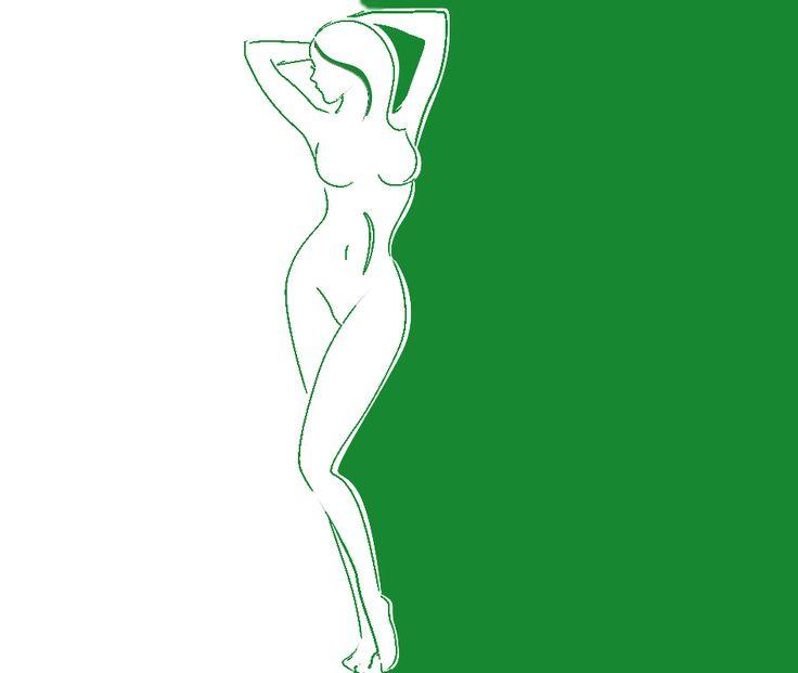 переход зеленое белое женский силуэт трафарет