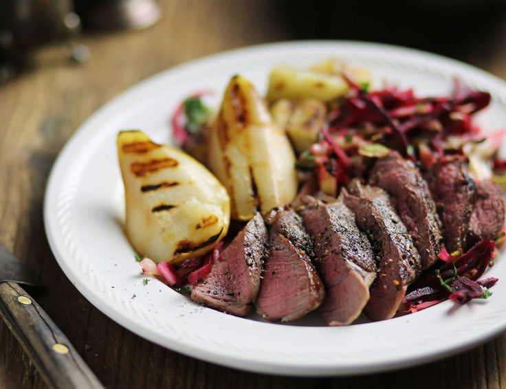 Wild Venison Steaks with Caramelised Pears