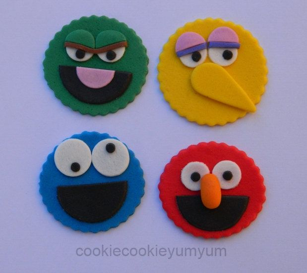 12 edible MIXED SESAME STREET oscar elmo cookie monster big bird cupcake cake topper decorations baby shower wedding birthday engagement by cookiecookieyumyum on Etsy