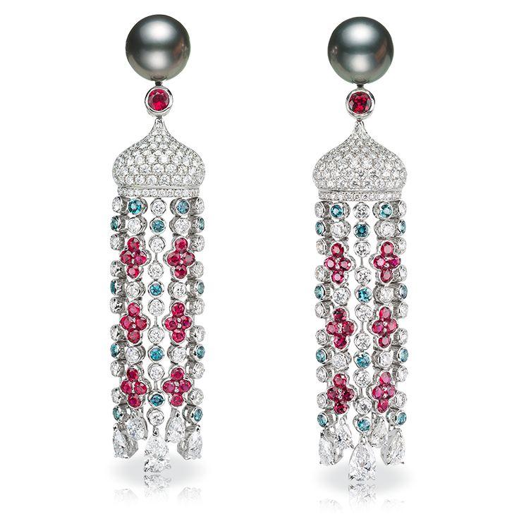 Серьги SARAFAN. жемчуг, бриллианты, александриты, рубины
