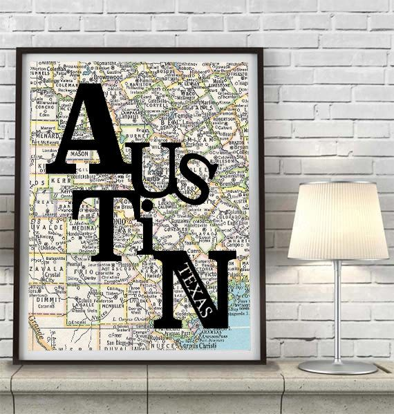 Austin Texas UT Longhorns Congress Typography Vintage Map ART PRINT vintage map poster decor art, gift for couple housewarming moving travel