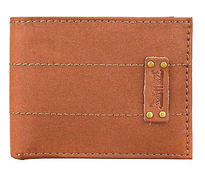 Levi's Premium Genuine Leather Bifold Id Credit Card Wallet 31lv2216 Tan