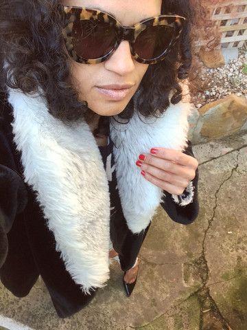 Black Velvet Swing Coat With Faux Fur Collar