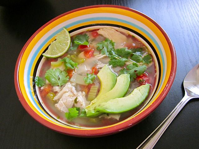 caldo xochitl (mexican hot flower soup) - Budget Bytes - chicken with tomatoes, chiles with fresh garnishes - avocados, cilantro, lime