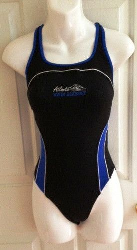 New Speedo Endurance Racing Swimsuit Size 30 Black Blue Atlanta Swim | eBay