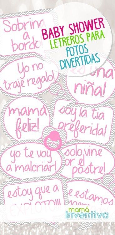 Carteles habladores para fotos de Baby Shower | Baby Shower Props for Photobooth | Juegos para baby shower.