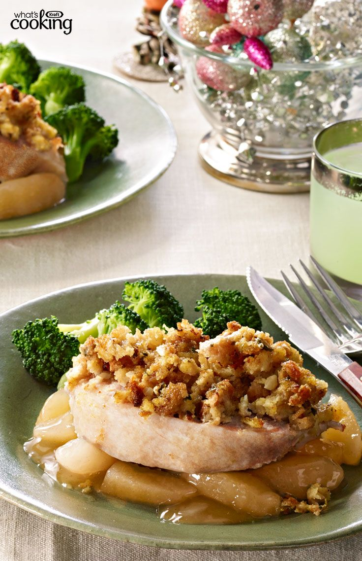 Pork Chops with Apples & Stuffing #recipe
