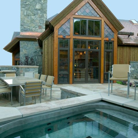 Outdoor patio and spa. Custom home in Beaver Creek by R.A. Nelson. #dreamhome #mountainhome #pool #spa #modern