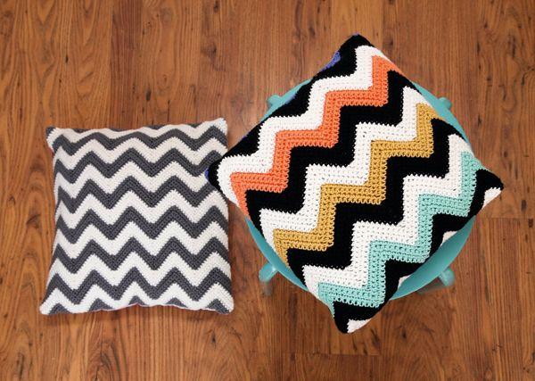 Ripple+crochet+pattern:+How+to+crochet+chevron+cushions