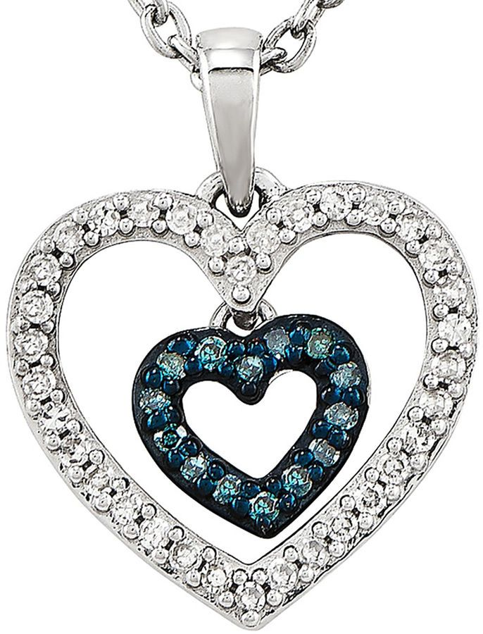 FINE JEWELRY 1/6 CT. T.W. White and Color-Enhanced Blue Diamond Double Heart Necklace