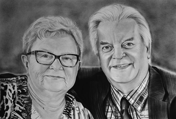 "Original painting ""My mum and dad"" by Rudy M Vandecappelle - dry brush - oil on paper. For commissions of any portraits (people, wedding, animals), please visit my website."