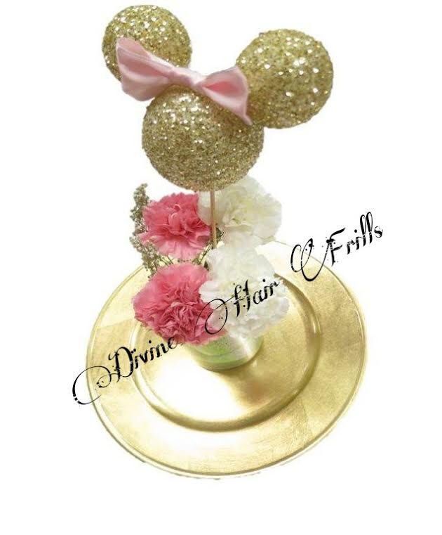 Minnie Mouse Centerpiece, Silhouette, Minnie mouse, Gold minnie mouse center piece, Minnie mouse with bow centerpiece, Table centerpiece by DivineHairFrills on Etsy https://www.etsy.com/listing/238058768/minnie-mouse-centerpiece-silhouette