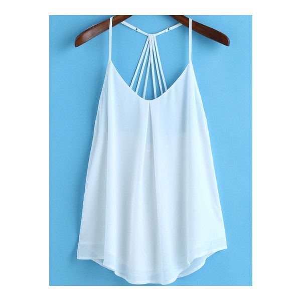 SheIn(sheinside) White Spaghetti Strap Loose Chiffon Cami Top ($14) ❤ liked on Polyvore featuring tops, white, white cami, loose white tank top, white tank, chiffon tank and loose tank tops