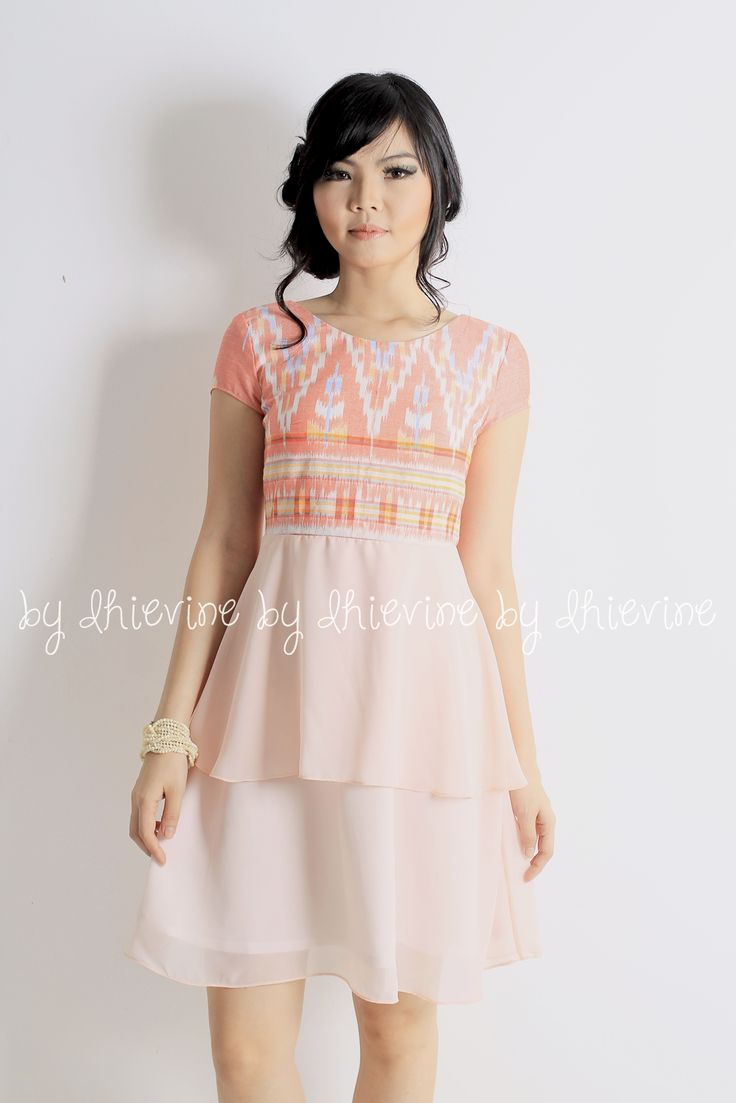 Ikat dress | Kebaya Dress |  Dewi Bhatari Endek Peach Dress | DhieVine | Redefine You