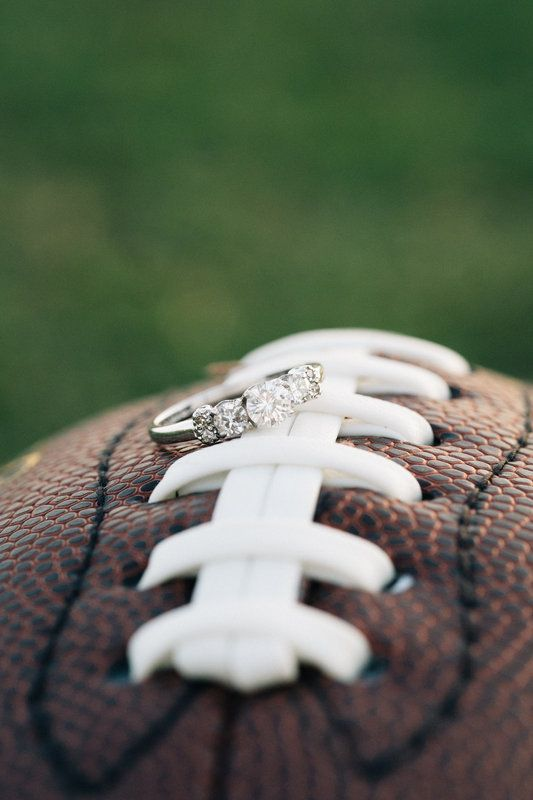 Kyle+Alex: Engaged  Photo By Nathan Gilmer Photography football engagement photo engagement ring