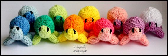 Toy Turtles  handknitted miniturtles in by KnitographyByMumpitz, kr70.00
