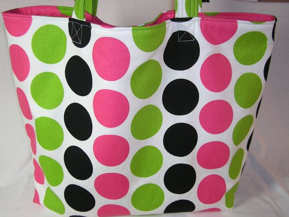 Candy Pink Dots LARGE Tote by ThreeBagsFullStudio on Etsy, $82.00