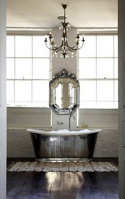 mirror, chandelier, and bathtub love