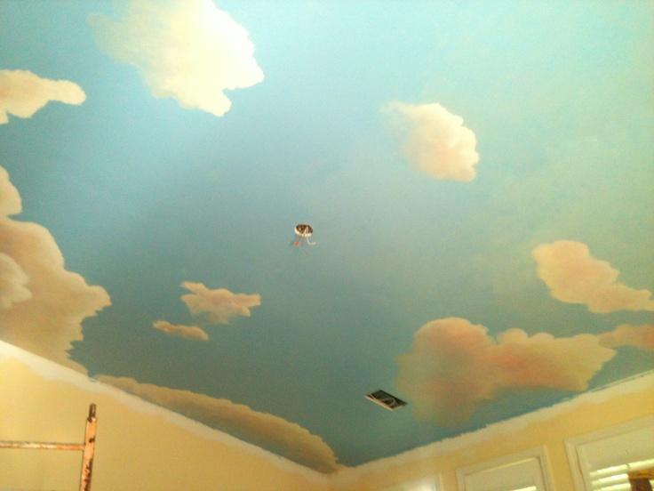 Atlanta residence, sunny evening cloud sky ceiling mural ...