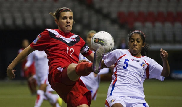 Canadian women soccer team one win away from qualifying for London 2012 Olympics