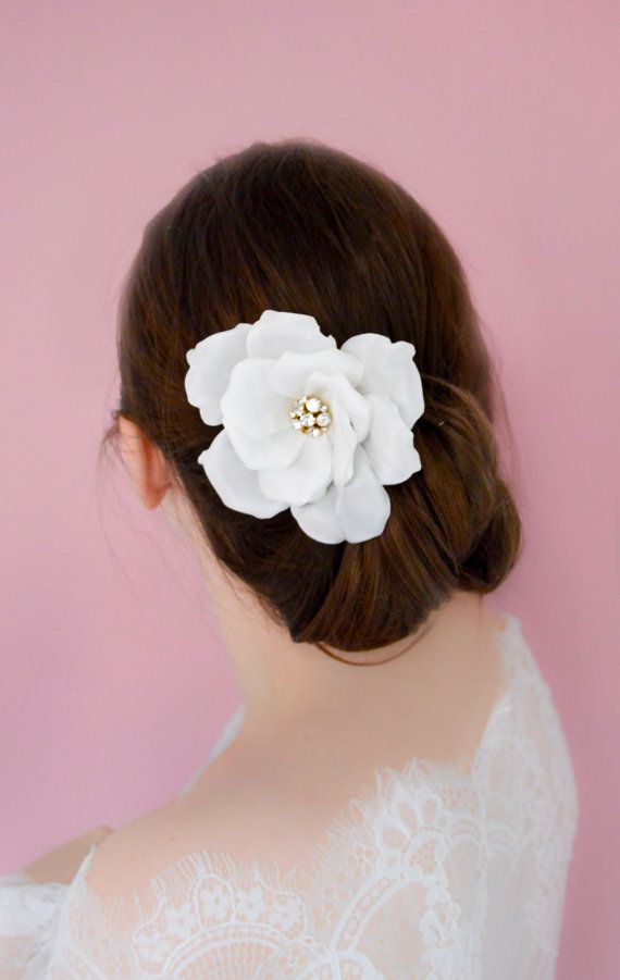 Bridal Hair Flower With Swarovski Crystals - White Rose - Hair accessories - Vintage Style - Hair Clip - Wedding Headpiece