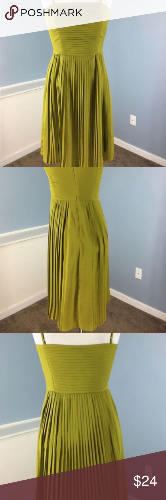 Lands End Parker Ballet Dress Bright Olive Sz 6 Beautiful spaghetti strap silk dress from  Lands' End Canvas in a sz 6. Bought at a sample sale - it is well made and a classic wardrobe piece. Never worn and in excellent condition. Lands' End Dresses