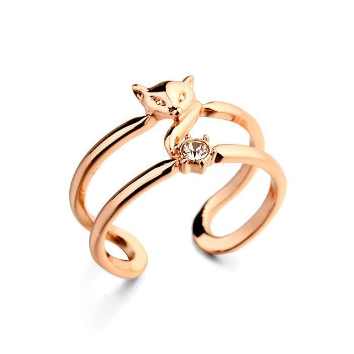 Italina Rigant Фокс форма золотые кольца дизайн для женщин с дешевой цене, лучший кольцо подарки на день рождения