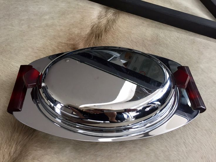 Vintage MID-CENTURY MODERN Serving Dish, Bakelite Handles, Chrome Serving Dish Glass Insert, Divided Covered Serving Tray by BarnboardAntiques on Etsy