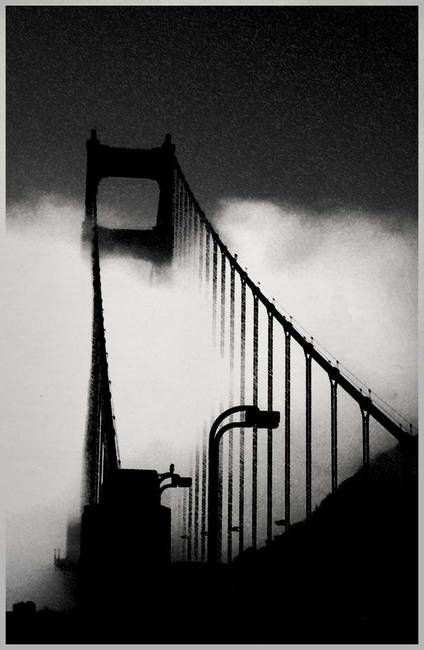 """Golden Gate Bridge"" by Eaten By Robots, Salt Lake City // Black and White Photo of the Golden Gate Bridge. By Treyson Bird // Imagekind.com -- Buy stunning, museum-quality fine art prints, framed prints, and canvas prints directly from independent working artists and photographers."