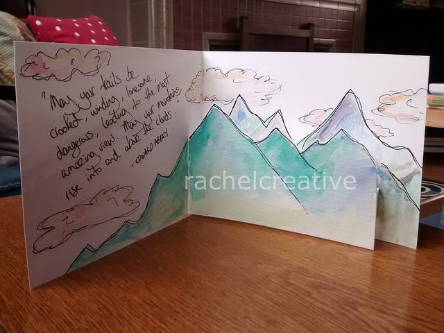 """Mountain pop up inside a bought card. Made for a friend. With quote """"May your…"""