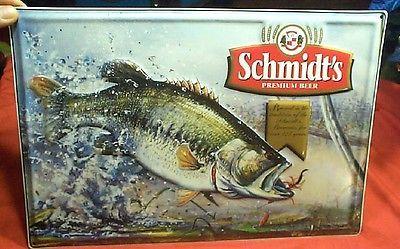 Vintage-Schmidt-Beer-Jumping-Bass-Fish-Metal-Sign-Nice-Shape-No-Motion-Wildlife