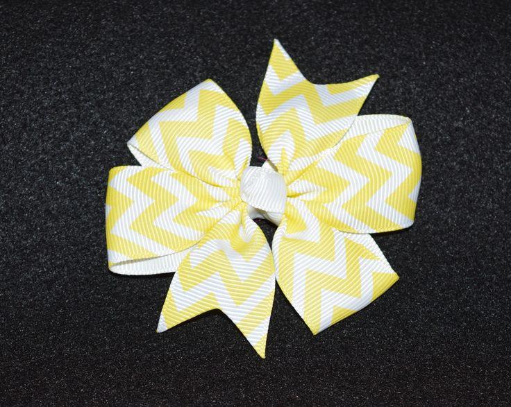 Small Chevron Bow, Yellow/White