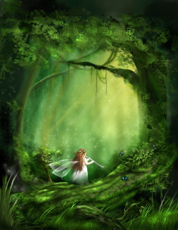 Fall Woodland Creatures Wallpaper Little Fairy Of The Forest Art Green Fantasy Forest Little