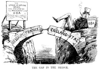 """The Gap in the Bridge; the sign reads """"This League of Nations Bridge was designed by the President of the U.S.A."""" Cartoon from Punch magazine, 10 December 1920, satirising the gap left by the USA not joining the League."""