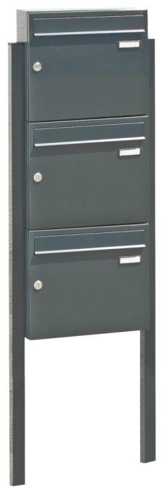 Briefkastenanlage BRETAGNE, mit 3 Briefkästen, zum Einbetonieren, in RAL 7016 anthrazitgrau