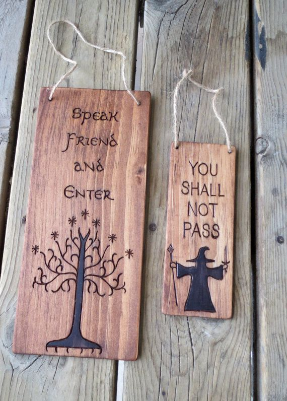 Lord of the Rings - Door Hanger - You Shall Not Pass - Speak Friend - Keep Out - Privacy Sign