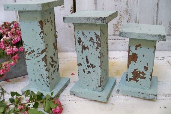 Large distressed pillar candle holders sea by AnitaSperoDesign, $70.00