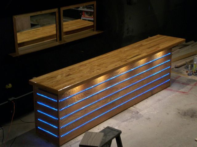 Light-installed bar-front
