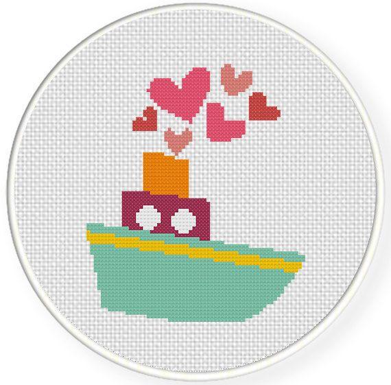 INSTANT+DOWNLOAD+Easy+Stitch+Valentine+Boat+by+DailyCrossStitch,+$2.99