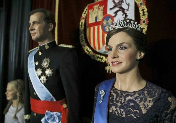 The new wax figure of Queen Letizia of Spain is shown at the Wax Museum of Madrid (Museo de Cera Madrid) on April 12, 2017 in Madrid, Spain. The sculpture, wearing a dark blue evening dress, is the third wax sculpture depicting the Queen made by the museum since 2003