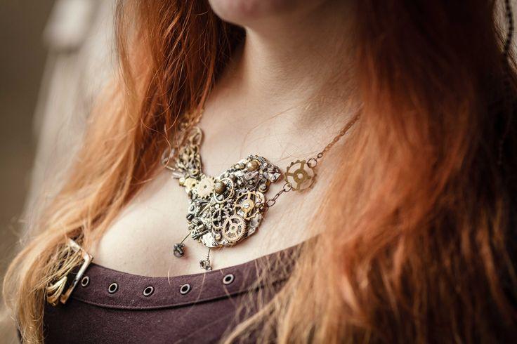 by Petra Slováková Photo taken by Vít Švajcr  #victorian #steampunk #steamgirls #českysteampunk #corset #historical #19th #aristocrat #photo #gothic #lady #madame #alternative #fashion #clock #bird #dark #emotive #jewels #jewelry #bracelet #necklace #handmade
