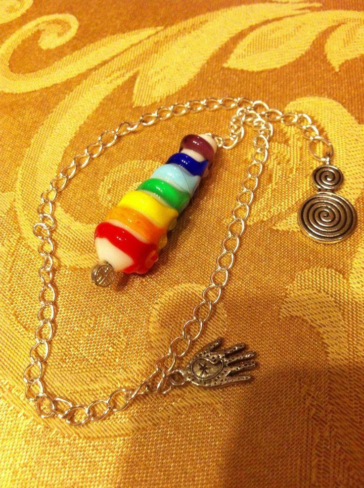 chakra balancing pendant handmade lampwork bead by andrea