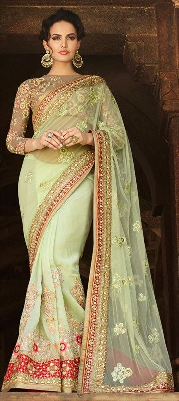 Green Floral Saree- designer wear 180747 Green  color family Bridal Wedding Sarees in Art Silk, Net fabric with Lace, Machine Embroidery, Patch, Resham, Stone, Zari work   with matching unstitched blouse. #Designer #Saree! #Sari #Embroidery #DesignerWears #Occasion #IndianDresses #Partywears #Indian #Women #Bridalwear #Fashion #Fashionista #OnlineShopping #Lehenga #DesignerBlouse *Free Shipping Worldwide*
